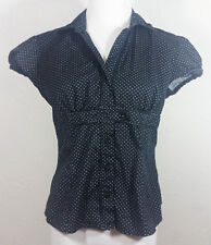 No Boundaries Juniors Top Medium 7 9 Button Down Polka Dot Stretch Career Black
