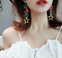 Women Coloured Star Drop Dangle Stud Long Ear Studs Acrylic Earrings Jewelry