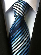 (NT034) Blu a Righe Seta Uomo Cravatta Matrimonio Festa Ufficio Business formale cravatta uomo