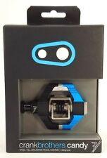 Crank Brothers Candy 7 Mountain Bike Pedals, Black/Electric Blue, w/ Cleats