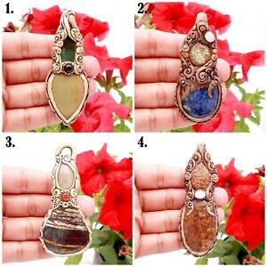 Mix Gemstone Clay Pendants Polymer Crystal Healing Necklace Mix Gemstone #303