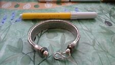 bagno argento indiano bracciale 96 gr snake piatto bracelet 22 CM indian silver