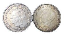 Lot De 2 Monnaies De 250 Francs Belges En Argent Anniversaire Roi Baudouin 1976