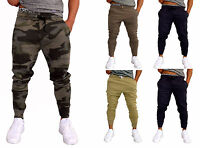 Mens Skinny Track Pants Trackies leg Harem Fleece Sweat Camo Black Dance Gym