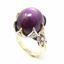 NYJEWEL Estate 14K Gold 36ct Natural Star Ruby & Diamond Ring
