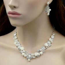 Rose Pearl Crystal Necklace Earrings Bridal Wedding Jewelry Set Silver 00129