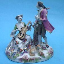 Porzellanfigur Augarten Figurengruppe Schäferpaar Dame musizierend Kavalier Lamm
