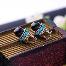 Boucles d`Oreilles Dormeuses Doré Pavé Mini Perle Turquoise Noir Retro A16