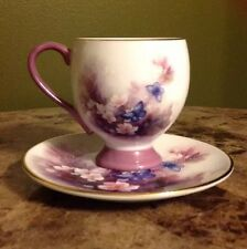 Lena Liu Porcelain Tea Cup and Saucer Blossoms And Butterflies Collectible Plate
