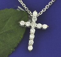 14k Solid White Gold Natural Diamond Cross Pendant Shared Prong SI1 H made USA