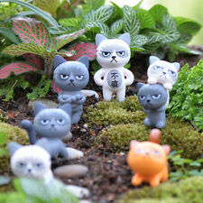 1x Angry Cat Figures Decor Miniature Figurine Mini Fairy Garden Resin Craft Lk