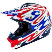 Troy Lee Designs SE3 Reflection Offroad MX Dirt Bike Helmet White Blue Medium