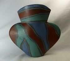 Liz Beckenham Incised And Coloured Slab Built Vase Signed Art Pottery