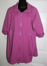 NWT Motto XL QVC Purple Stretch French Terry Jacket With Removable Hood