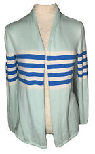 Women Talbots Mint Green Blue Striped Cashmere Blend Open Front Cardigan Size PP