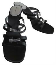 New Bandolino Black Strappy Open Toe Sandals Heels Shoes With Rhinestones Sz 8.5