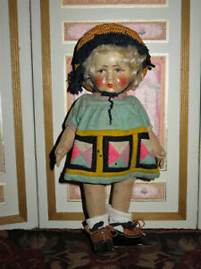 """ADORABLE CIRCA 1920'S GERMAN 10"""" BING GIRL PAINTED CLOTH DOLL W/BLONDE MOHAIR!"""