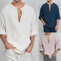 Men Long Sleeve Summer T-Shirt Loose Fall Hippie Shirt V-Neck Beach Yoga Top