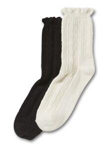 No Nonsense Women's Ruffle Booties Low Boot Socks 2 Pair Shoe Size 4-10 NEW!