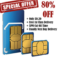 O2 Sim Card PAYG - Standard - Micro - Nano - iPhone & Samsung - £10 Big Bundle