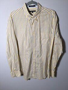 Gant mens yellow striped button up shirt size XL long sleeve cotton good condt