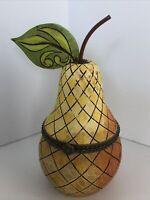 "Jim Shore Golden Pear 4"" Trinket Box Hinged 2006 Enesco Heartwood Creek"