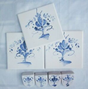 """Tile Lot of 3 French Painted Blue Floral 4 ¼"""" FRANCE Plus 4 Small Tiles SIGNED"""