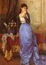 Nice Oil painting The Letter - young lady in blue dress in sitting room canvas