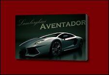 Lambourghini adventador sports car silver green CANVAS WALL ART