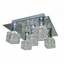Searchlight Cool Ice Chrome 5 Light Square Fitting With Ice Cube Glass 2275-5
