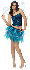 Enchanted Butterfly Womens Sexy Halloween Costume sz L NEW Blue Dress Wings Top