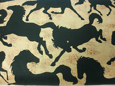 """27"""" Southwestern Quilt Fabric Western Black Horse Silhouettes on Shaded Tan"""