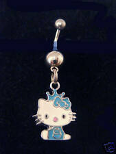 "Hello Kitty charm  Blue Crowned  belly ring 3/4"" charm 316L"