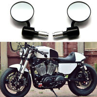 "Black CNC Motorcycle 7/8"" Handle Bar End Mirrors For Harley Davidson Cafe Racer"