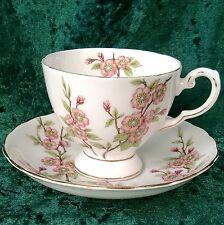 Vintage Tuscan Springtime Tea Footed Cup Saucer Apple Blossom Gold Rim 50s