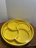 Vintage Mid 70's Dansk  Round Tray And 4 Chamber Condiment Tray in Yellow Set 2