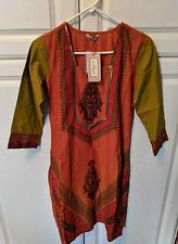 Karigari Womens Long Kurta Dress Tunic Indian Culture Small Boho Hippie $499.