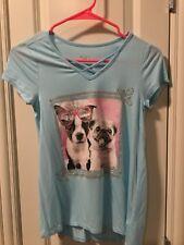 NWOT Justice Top Shirt Dog Terrier Pug Light Blue Top Size 12 Cross Glitter