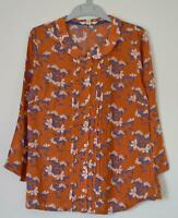 NEW EX WHITE STUFF UK SIZE 8 10 12  TERRACOTTA BLUE FLORAL BLOUSE TOP