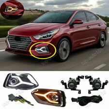 w/ LED DRL & Turn signal Halogen Front Fog Lamp Kit For Hyundai Accent 2018-2020