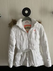 Hollister Winterjacke Damen Jacke Gr S 36 Weiss Kapuze