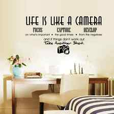 DIY Art Wall Decals Life Camera Phrases Wall Sticker Home Room Decor Removable