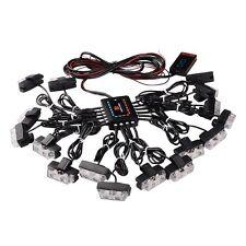 1 Kit LED Car Truck Strobe Emergency Warning Lights Bars Deck Dash Grill White