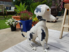 Metal Tin Garden Dog Garden Sculpture Ornament Moving Spring Head and tail NEW'