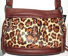 B MAKOWSKY ANDREA LEOPARD PRINT COWHIDE LEATHER TOTE PURSE BAG NWOT