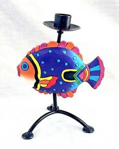 Carved Brightly Painted Wood Fish - Wrought Iron Candle Holder