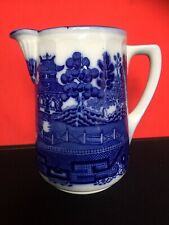 More details for antique doulton burslem imperial blue willow no12 water pitcher flower display