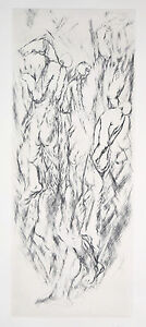 Vintage Surrealist Abstract Etching Nude Men in Ascent L/E sgd Pierre Zucchelli