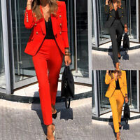 Women Blazer + Pants Co-ord Set Long Sleeve Double Breasted Ladies Office Coat
