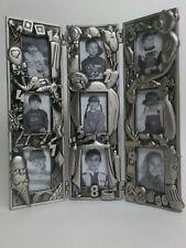 "Royal Limited Photo Frame Multi-Photo Collage Pewter 3 Panels 9 Photos 3"" x 2"""